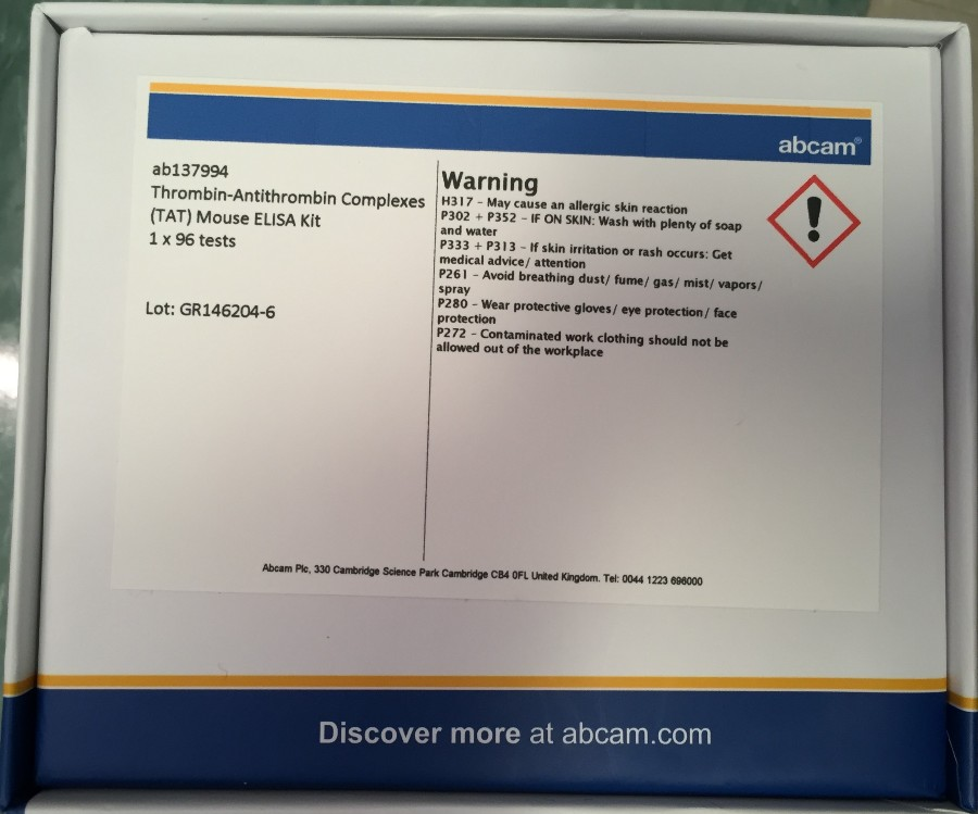 An Easy Way To Quantify Thrombin-Antithrombin Complexes Using Abcam ELISA Kit